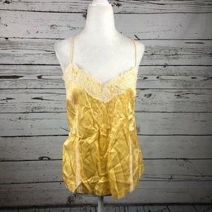 Theory Bergdorf Goodman Yellow Lace Satin Cami Top